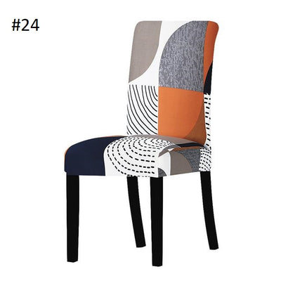 orange and blue and white geometric dining chair spandex slip covers - winfinity brands