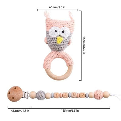 crochet baby girl owl bracelet handmade personalized pacifier clip teether