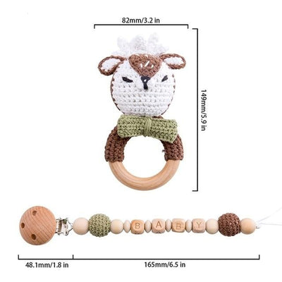 crochet christmas deer theme bracelet handmade personalized pacifier clip teether