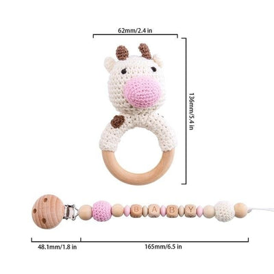 crochet cow bracelet handmade personalized pacifier clip teether
