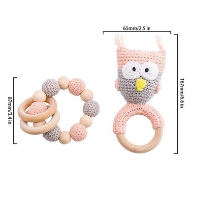 crochet pink owl theme  bracelet handmade personalized pacifier clip teether