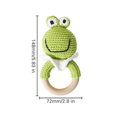 crochet frog bracelet handmade personalized pacifier clip teether