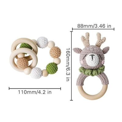 crochet woodland nordic theme deer baby gear bracelet handmade personalized pacifier clip teether