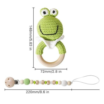 crochet frog toad  bracelet handmade personalized pacifier clip teether