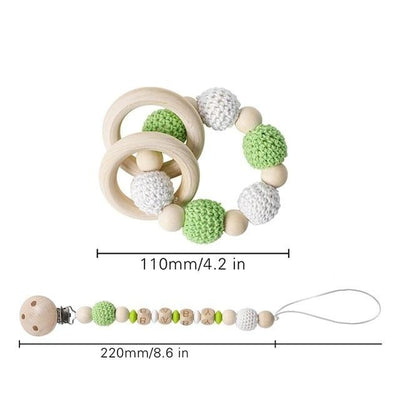 crochet green and white bracelet handmade personalized pacifier clip teether