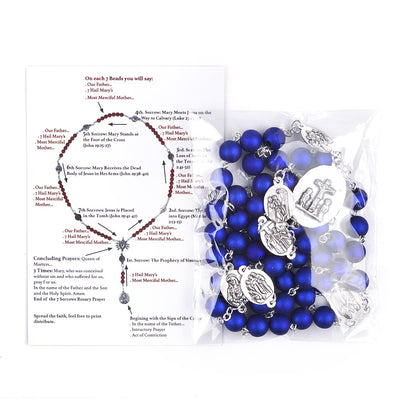 seven sorrows rosary.blue beads rosary.catholic rosary. - winfinity brands - free shipping world wide