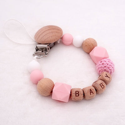 custom personalized name wood and silicone bead baby pacifier teether clip winfinity brands free shipping pink color for girl