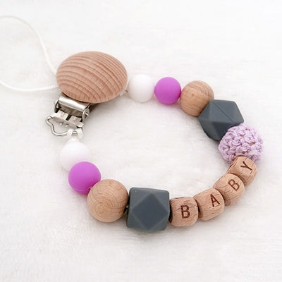 custom personalized name wood and silicone bead baby pacifier teether clip winfinity brands free shipping purple color