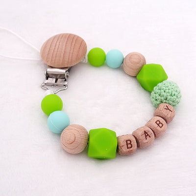 CREATEME™ Handmade Custom Name Silicone + Wood Pacifier Clip