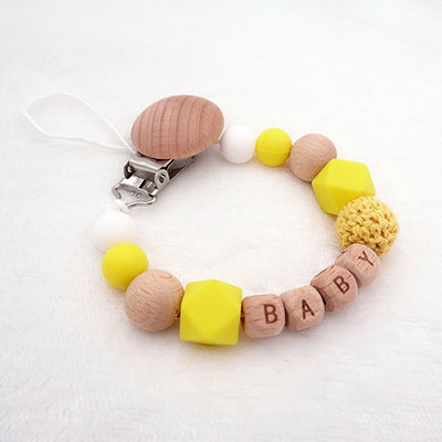 custom personalized name wood and silicone bead baby pacifier teether clip winfinity brands free shipping bright yellow color