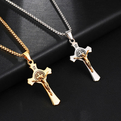 mens modern gold or silver jesus catholic crucifix necklace and chain, winfinity brands - free shipping
