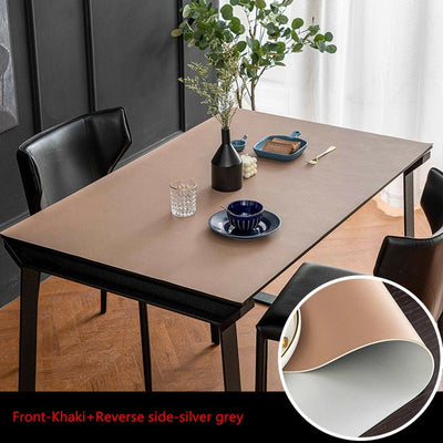 vegan leather table protector khaki brown and grey color - winfinity brands