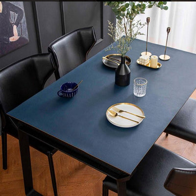 vegan leather table protector dark blue color - winfinity brands