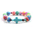 Rainbow Clay + Natural Stone Cross Catholic Bracelet
