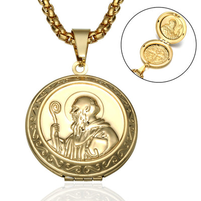 mens catholic locket necklace, men's san benito locket gold, winfinity brands