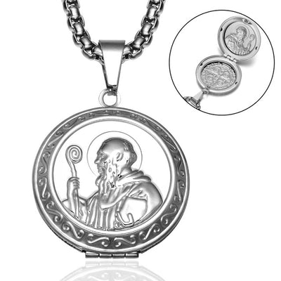 mens catholic locket necklace, men's san benito locket, silver winfinity brands
