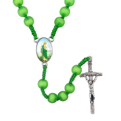 st jude rosary cross rosary green beads.catholic rosary metal beautiful jesus with cross - winfinity brands - free shipping world wide