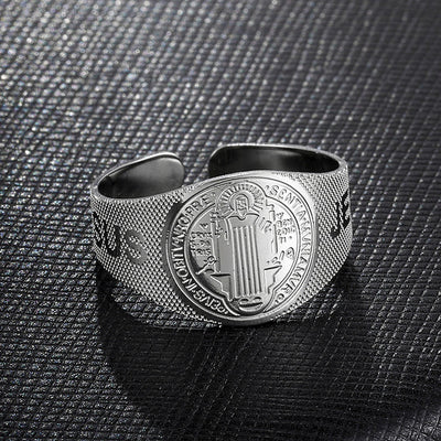 jesus religious ring.saint benedict adjustable ring.catholic open ring - winfinity brands - free shipping world wide