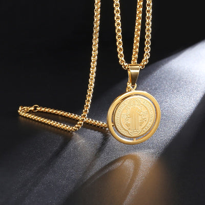 catholic saint Benedict mens fashion jewelry,  mens catholic gold medallion necklace - winfinity brands, free shipping