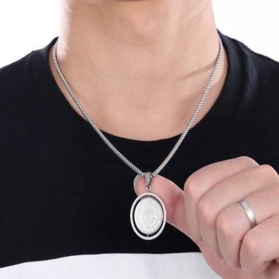 catholic saint Benedict mens fashion jewelry,  mens catholic silver medallion necklace - winfinity brands, free shipping