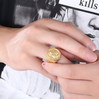 men's gold virgin mary ring, mens catholic ring - winfinity brands
