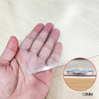 1mm thick clear table protector, 1mm bench top protector, custom cut table protector