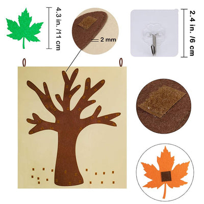 autumn felt craft tree for kids, fall tree decorate for toddlers, winfinity brands - free shipping