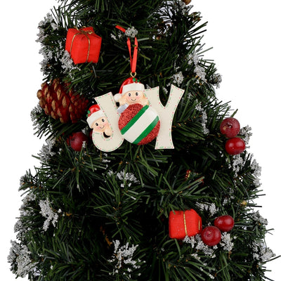 "CREATEME™ Family of 2,3,4, 5, 6, or 7 ""JOY"" Family Personalized Christmas Tree Ornaments"