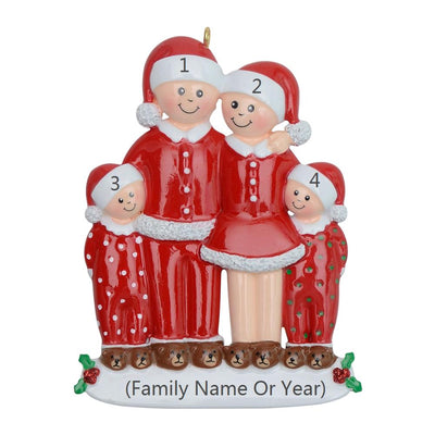 pajama family of 4 ornaments,personalized Christmas tree decoration,Christmas creative gift,Christmas ornaments for decoration,Christmas ornaments