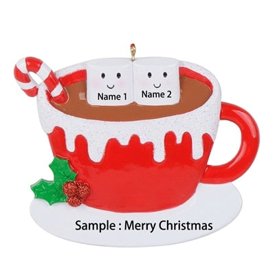 Personalized marshmallow couple,Christmas ornaments,Hot cocoa coffee mug,Couples Christmas ornaments,personalized Christmas ornaments for couple ornament gift- winfinity brands