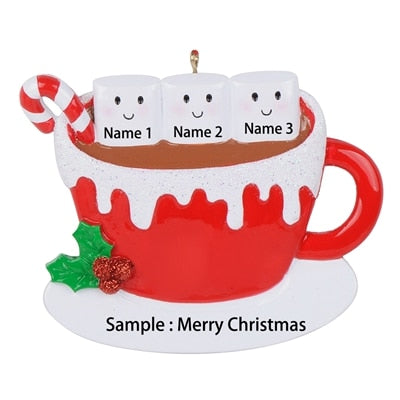 Personalized marshmallow couple,Christmas ornaments,Hot cocoa coffee mug,Couples Christmas ornaments,personalized Christmas ornaments for  family of 3 - winfinity brands