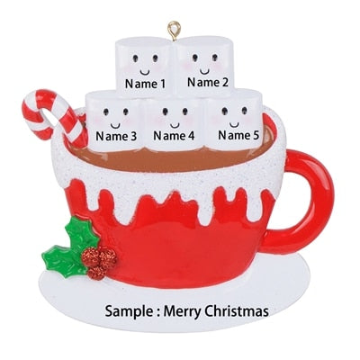 Personalized marshmallow couple,Christmas ornaments,Hot cocoa coffee mug,Couples Christmas ornaments,personalized Christmas ornaments for  family of 5 - winfinity brands