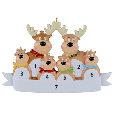 Reindeer Family, Resin Hanging ,Personalized, Christmas ornaments , Holiday New Year Gifts