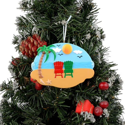 Beach Family of 2 Christmas Tree Ornament,Beach Family of 2 Christmas Tree,Christmas Tree ornament, Christmas ornament,Family Kids Baby Military Sports ,Decor for A Holiday Party-Custom Decorations for Family