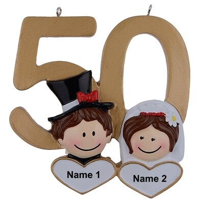 50th Wedding Anniversary Gift - Personalized 50th Gold Wedding Anniversary Christmas Ornament - winfinity brands