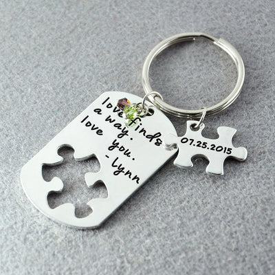 gift for couple, key chain couple gift puzzle piece - winfinity brands
