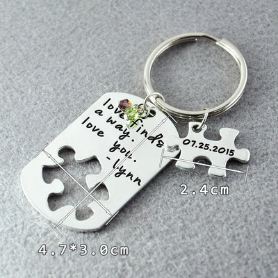 love always finds a way gift for couple, key chain couple gift puzzle piece - winfinity brands
