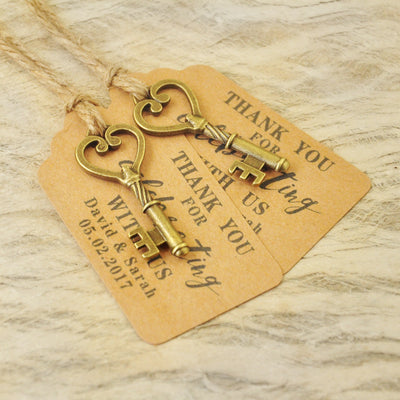 thank you tag rustic vintage with key