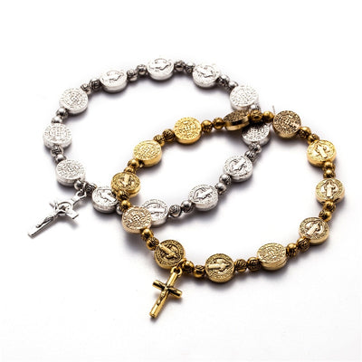 silver and gold color vintage catholic st Benedict bracelet stretchy