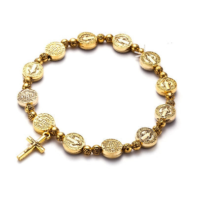 gold color vintage catholic st Benedict bracelet stretchy