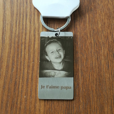 je t'aime papa custom photo and words text dog tag key chain gift for him - winfinity brands