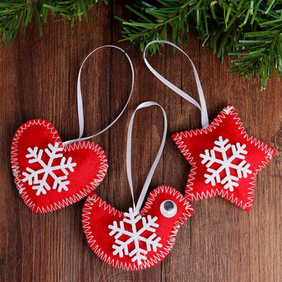 red felt handmade christmas tree ornament, heart star and bird, red and white felt