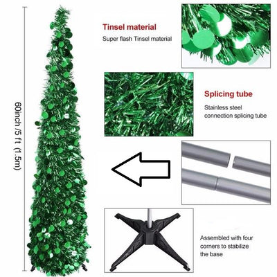 Tinsel Tree in a Box - Pop Up Christmas Tree (60inch/5 Foot/152cm)