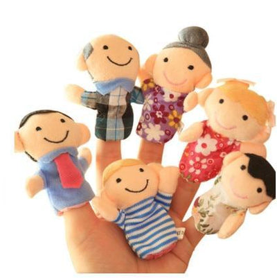 puppet family finger set grandma, grandpa, mom, dad, sister and brother
