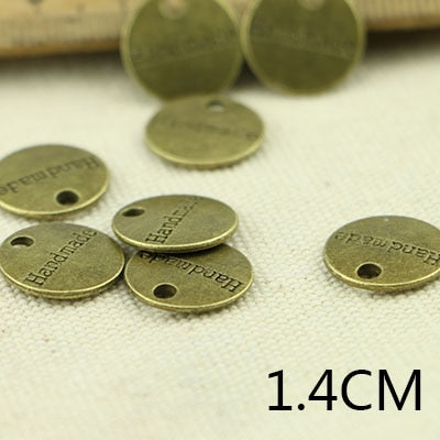 Tibetan Bronze or Silver Plated 14mm/1.4cm Handmade Charm Pendants (35 pieces in each lot)