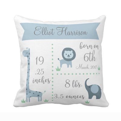 baby birth stats pillowcase, blue baby pillowcase