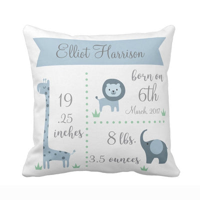 baby birth stats pillowcase, blue baby pillowcase, giraffe tiger and elephant design