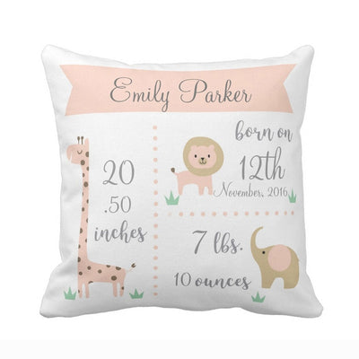 baby birth stats pillowcase, pink baby pillowcase