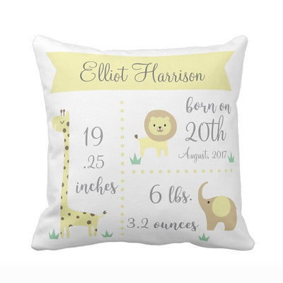 baby birth stats pillowcase, yellow baby pillowcase