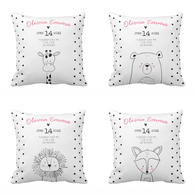 birth stat pillowcase for baby black and white
